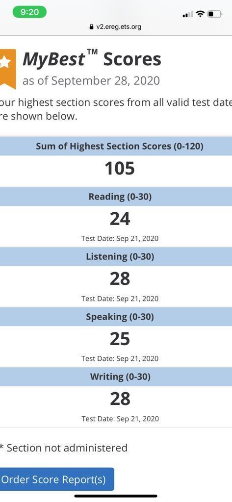 TOEFL iBt Score of 105